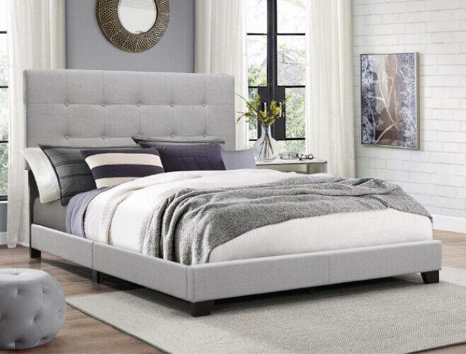 Full Size Platform Bed Frame Upholstered Headboard Tufted Beds Wood Frame, Gray
