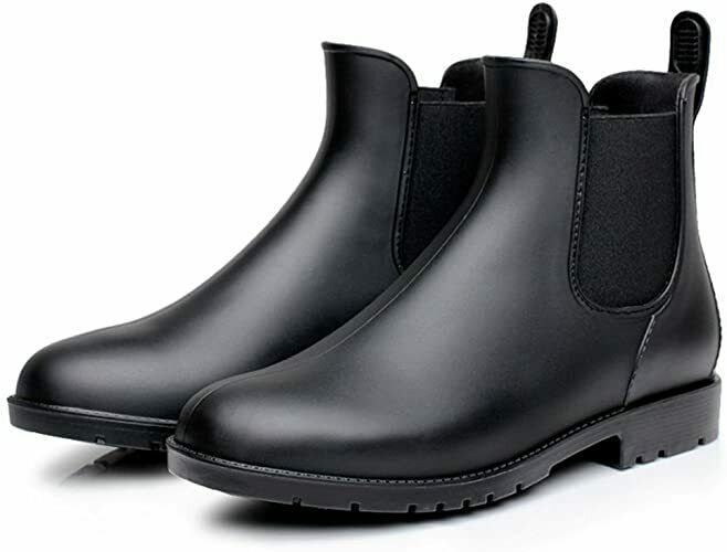 Rain Boots Women Black Chelsea with Elastic Slip On Ankle Casual Water Proof NEW