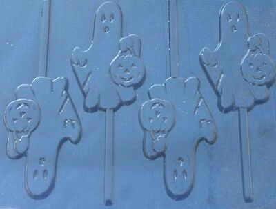 GHOST HOLDING PUMPKIN LOLLIPOP CHOCOLATE CANDY MOLD  DIY HALLOWEEN PARTY FAVORS - Halloween Ghost Chocolate Mold