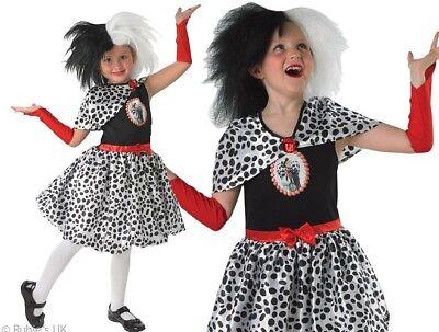 Childs Cruella de Vil Fancy Dress Costume 101 Dalmations Outfit by Rubies New](Cruella De Vil Costume Kids)