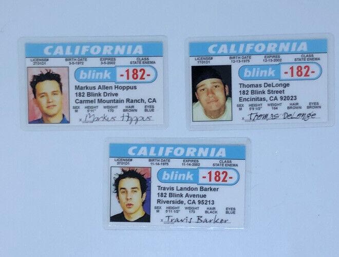 Vintage 1990s BLINK-182 Novelty Souvenir California Driver License ID Card 3 LOT