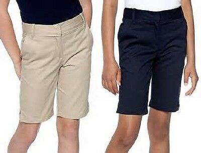 IZOD Uniform Flat Front Bermuda Shorts Girls 7-16 (Navy or Khaki)