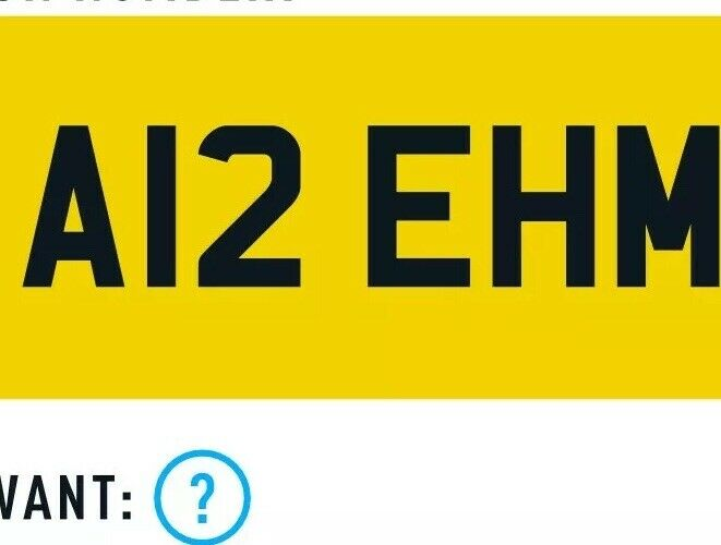 Private+Car+Registration+number+plate+A12+EHM