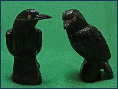 "Peruvian Black Onyx Raven Carving Figurine (1) Large 3.25"" x 2"""