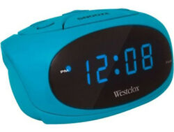 Westclox Blue LED Display Tabletop Electric Alarm Clock (Teal) 70044T