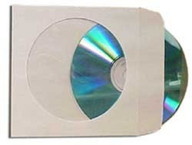 2000 Paper CD DVD R CDR Sleeve Window Flap Envelope New