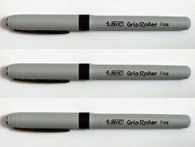 Bic Grip Stick Roller Ball Pen Fine Point 0.7 Mm Black 12 Pens New Free S