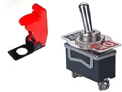 1 Pc Spst Safety Toggle Switch 20amps 125vac With Red Cover St1566-5015