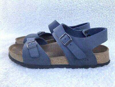 Birkenstock Birki's Navy Blue Leather Slingback Cork Sole Sandals Size 8 EUR 39