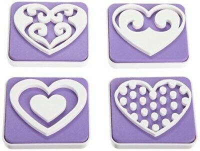 Wilton Heart Cake Stamp 4 Piece Set Decorating Cookies Edible Color Sugar Sheets