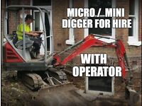 Micro/Mini Digger And Driver/Operator Available for Hire with Dumper