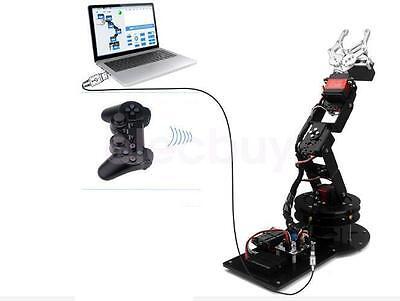 6 Dof Black Robotic Arm Clamp Claw Mount Kit Servos Controller Handle