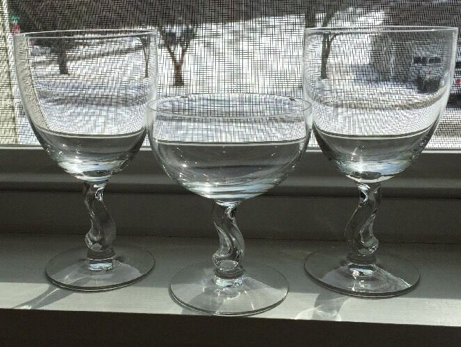 2 Fostoria Contour #6060 Crystal Water Goblets & 1 Sherbet 1971 Hard To Find