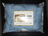 Blue Egyptian Cotton Twin Size Sheet Set, 1200 Thread Count