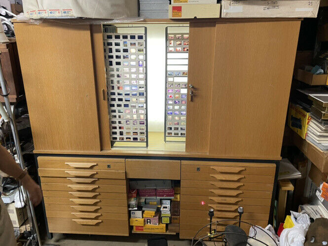 35mm film wooden slide cabinet w/ backlit light and a light table slide storage