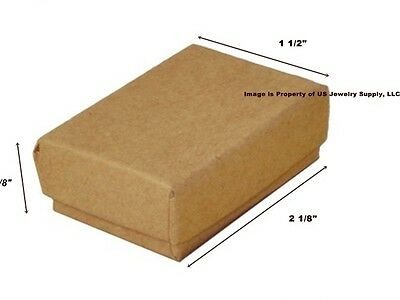 Lot Of 500 Small Kraft Brown Cotton Fill Jewelry Gift Boxes 2 18 X 1 12 X 58