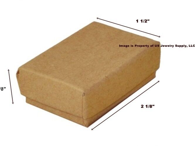 Lot of 500 Small Kraft Brown Cotton Fill Jewelry Gift Boxes 2 1/8 x 1 1/2 x 5/8