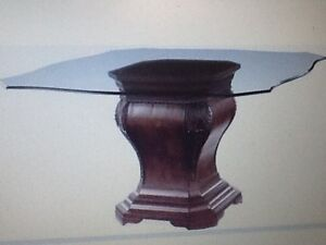 Glass Dinning  Table ( Bombay Serpentine with wooden carved Base