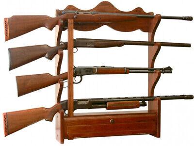 Gun Wall Display - Gun Rack Wall Mount 1.00 cu. ft. 4 rifle  storage wood locking rifle display
