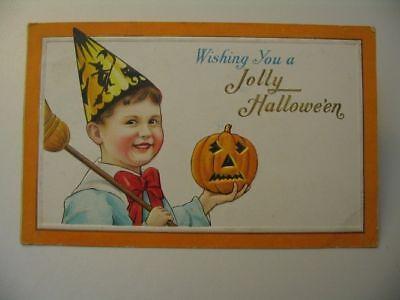 Jolly Boy Halloween Postcard Orange Mass Cancel 80 B cdii - Halloween Cancelled