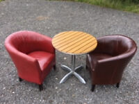 8 Capri Tables & 16 Tub Chairs for Cafe, Pub or Bar Use