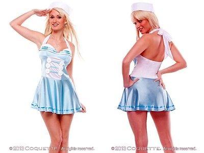 Retro Sailor Girl (NEW Coquette Sexy Light Blue Retro Sailor Girl Costume w/Hat Halloween Party M/L)