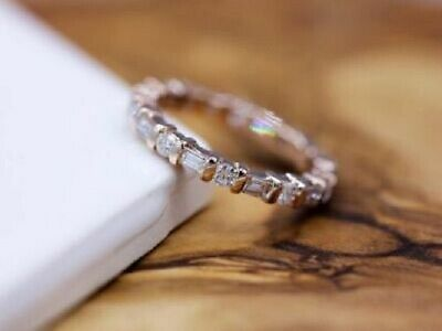 Wedding Band Ring For Woman's 14K Yellow Gold Over 1Ct Round & Baguette - Diamond Baguette Wedding Band