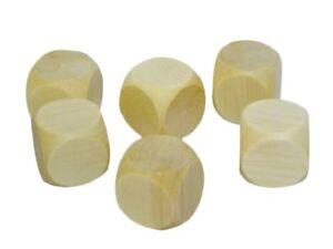 5x Wooden Plain Dice Dices Cube Cubes Blank Plain Unpainted Wood Six Sided 20mm