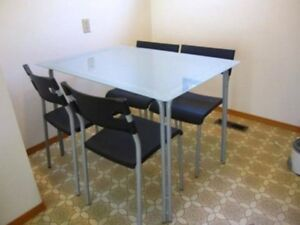 5 pc dining set with 4 chairs and 1 table (tempered glass top)