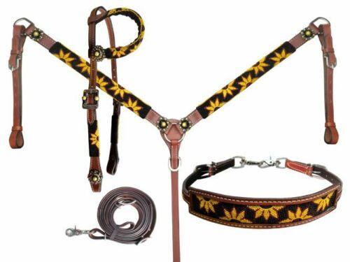 Showman Beaded Sunflower 4 Piece Leather Headstall & Breast Collar Set