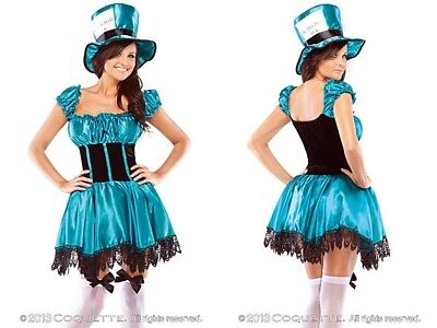 Mad Hatter Halloween Costume Accessories (NEW Coquette Sexy Mad Hatter Costume w/Accessories Halloween Party)
