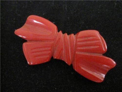 Vintage Carved Petite Cherry Red Bakelite Bow Brooch Pin