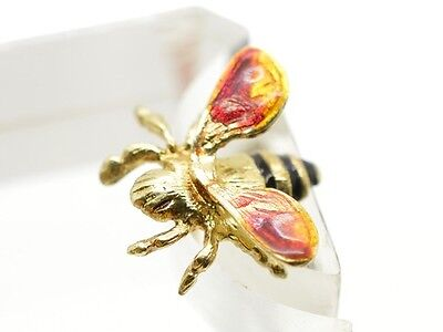 Vintage 14k Yellow Gold Enamel Bee Pin Lapel Brooch Insect Signed Designer
