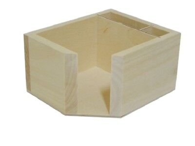 Wooden Memo Pad Box Post It Note And Pen Holder Box Dispenser Office Desk Gift