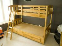 Solid wood single over single bunk bed