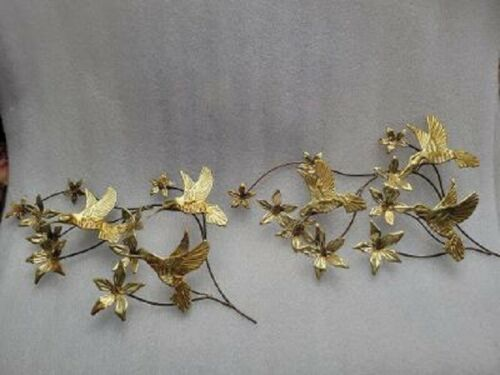 Set of 2 Vtg. Large Home Interiors Brass-Plated Hummingbird Flower Wall Plaques