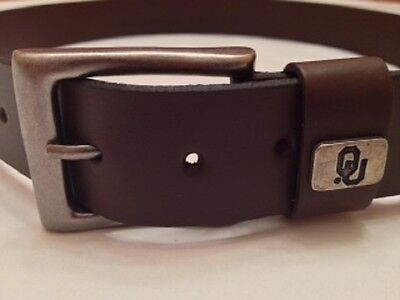 Brown Leather Belt Oklahoma Sooners With Ou Cocho On Loop