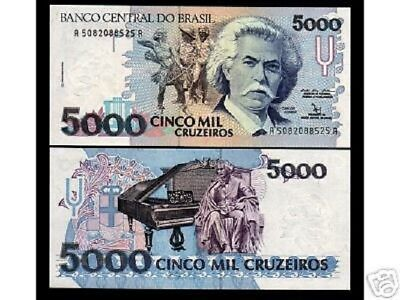 BRAZIL 5000 CRUZEIROS P232 1992 BUNDLE UNC GRAND PIANO MONEY 100 PCS LOT NOTE, usado comprar usado  Enviando para Brazil