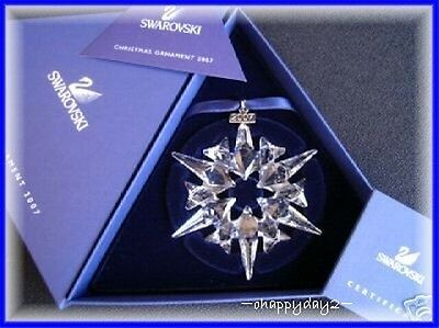 2007 Swarovski~Snowflake STAR Annual Christmas ORNAMENT~ NIB~ Large Triangle box