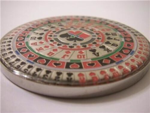 Poker Kaleidoscope Suited Pattern Heavy Card Guard Hand Protector Metal Coin NEW