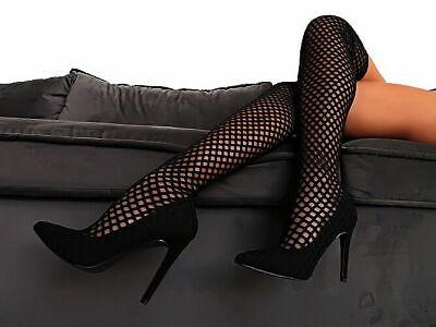 Stivali Sopra il Ginocchio Nero Tacco Alto A136 WOMAN STRETCH OVERKNEE BOOTS 38