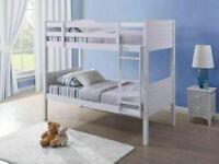 ⭐🌈SLEEK AND STYLISH WOODEN BUNK BED SPLITS INTO 2 SINGLES WHITE HARD WOOD BUNKBED
