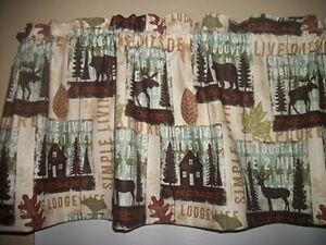 Cabin Lodge Camp Moose Bear Deer North Woods Fall fabric curtain topper Valance