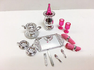 Barbie Doll Fine Dining Silver Champagne Plastic Dinnerware Set  (Fine Plastic Dinnerware)