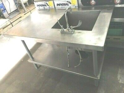 Sink Table Prep 48x 30 X 32h Wt 1 Bowl Sink Stainless-st Bowl18 X 18 X 11