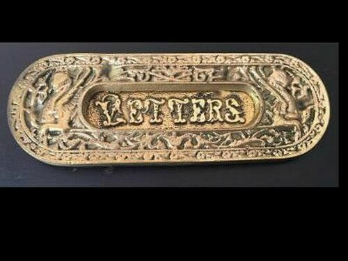 """Ornate Solid Brass """"Letters"""" Mail Slot w/Dragons"""