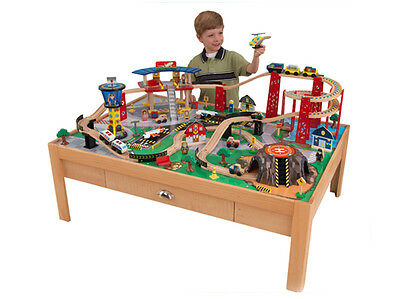 KidKraft Airport Express Wood Train Table & Toy Set | 17975