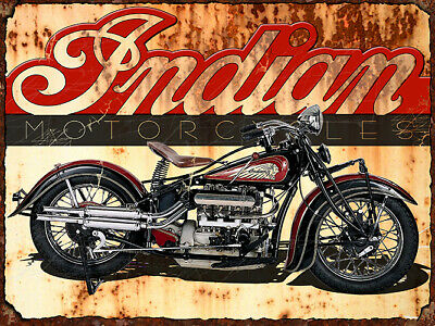 Vintage Indian motorcycle advertisement reproduction steel sign