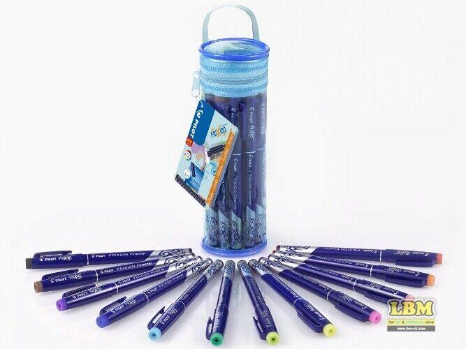 Pilot FriXion Fineliner Erasable Marker Pens Pencil Case of 12 Assorted Colours