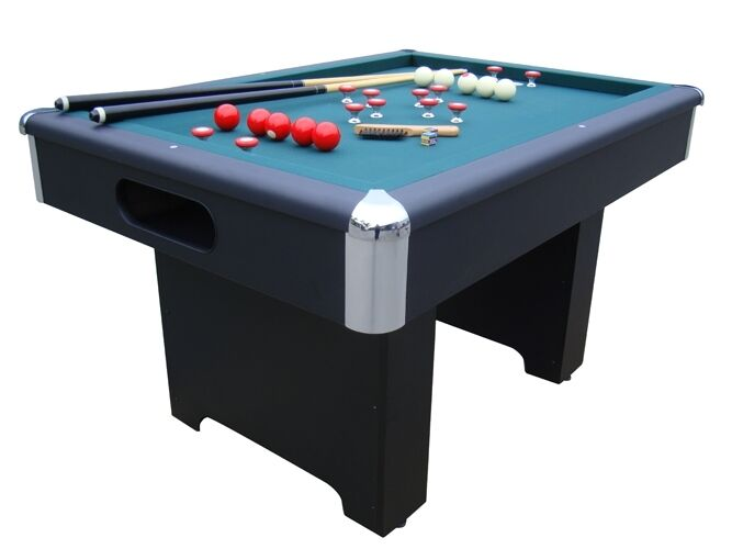 BUMPER POOL TABLE in BLACK w/ CUES & BALLS & SLATE BED by BE